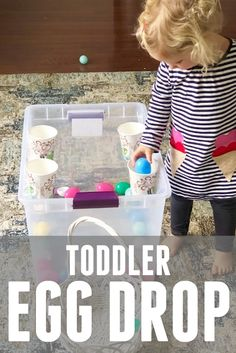 This Toddler Egg Drop is the simplest Easter activity to keep toddlers and preschoolers busy! Such a great use for the plastic eggs multiplying around your house! Toddler Learning, Toddler Fun, Toddler Preschool, Toddler Crafts, Toddler Toys, Preschool Crafts, Toddler Games, Teaching Kids, Easter Activities