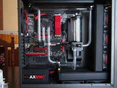 Red computer pc tower liquid cooled setup case