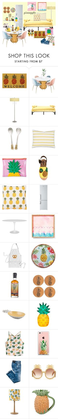 """""""pineapple"""" by gpatricia ❤ liked on Polyvore featuring interior, interiors, interior design, home, home decor, interior decorating, Momentum Mats, Giclee Glow, Kristin Drohan Collection and Sunnylife"""
