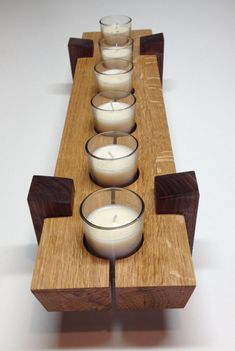 Wooden candle holder / Table center piece dimensions x x – Holz Rustic Crafts, Wood Crafts, Bois Diy, Wooden Candle Holders, Small Wood Projects, Diy Candles, Beeswax Candles, Tea Light Holder, Table Centerpieces