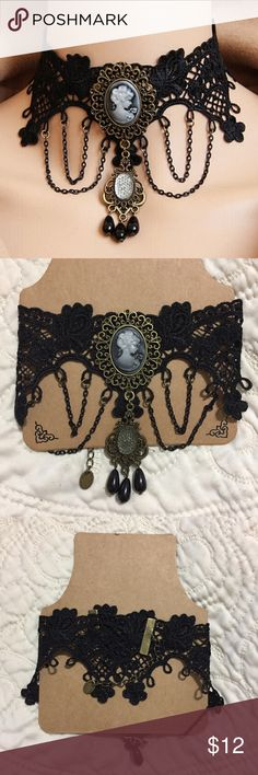 Lace Victorian Choker Necklace This retro Queen pendant Victorian choker necklace is brand new. Gorgeous black steampunk / goth lace detail. Circumference 30-35cm (1cm=0.394inch) Jewelry Necklaces