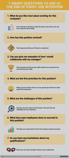 infographic 7 smart questions to ask at the end of every job interview - You're in the h. Image Description 7 smart questions to ask at the end of Teaching Job Interview, Interview Answers, Job Interview Questions, Job Interview Tips, Teaching Jobs, Questions To Ask, This Or That Questions, Job Interviews, Cv Advice