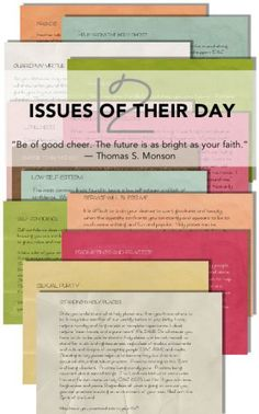 12 Issues Youth Face in Today's World |  Lesson suggestion and activity using quotes from L.D.S. Church Leaders #comefollowme