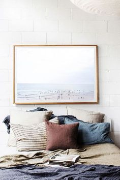 neutral colors | bedroom | wall art | minimal | bed pillows | simple colors | bed post