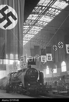 The Anhalter Bahnhof in Berlin decorated with flags, 1938