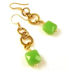 Handcrafted jewelry green glass beads 14k gold plated long drop earrings