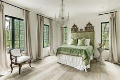 COTE DE TEXAS Texas Bedroom, Farm Bedroom, Floor Sitting, French Chandelier, Multipurpose Room, Pleated Curtains, Modern Side Table, Entry Hall, Indoor Outdoor Living