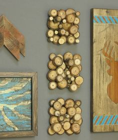Modern rustic wood slice wall decoration. Set of three tree branch squares wall art decor