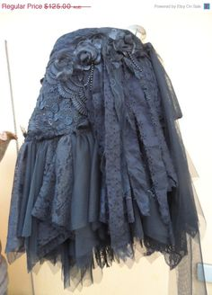 """20%OFF vintage inspired extra shabby wrap belt/skirt...a work of art 38"""" across plus ties."""