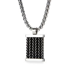 Jewelry Necklaces Necklace with Pendants Stainless Steel Brushed Brown Woven Leather 22in Dog Tag Necklace