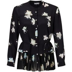 Marella Luchino Silk Floral Print Blouse, Black (2.902.735 IDR) ❤ liked on Polyvore featuring tops, blouses, floral blouse, floral print shirt, long sleeve silk blouse, flower print blouse and long sleeve peplum shirt