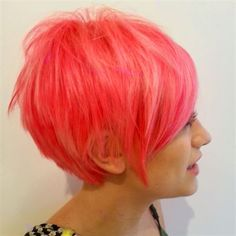 LOVE this cut! And the color is pretty cute too. Pink's not my thing but it's super well done. Coral Hair, Peach Hair, Paul Mitchell, Funky Hairstyles, Pretty Hairstyles, Violett Hair, Funky Hair Colors, Locks, Haircut And Color