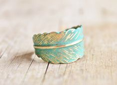 Verdigris Feather Ring Hand Forged Brass by hangingbyathread1, $16.00