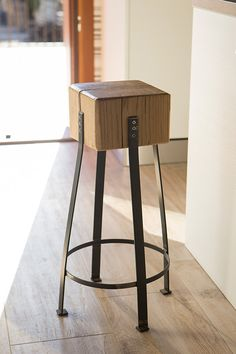 Sgabello by Industrie #Delamont  #industrial #stool #wood #castagno #chestnut #iron #sgabello #industriale