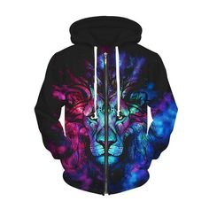 Cheap hoodies Buy Quality hooded sweatshirt directly from China zipper hoodie Suppliers: 2017 New Animal Lion Zipper Hoodie Harajuku Print Hooded Sweatshirts Women Men Winter Tops Sweats Outfits Hoodie Sweatshirts, Psychedelic Visuals, Lion Noir, Psytrance Clothing, Cool 3d, Sweats Outfit, Le Roi Lion, Cool Hoodies, Hoodie Jacket