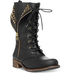 Steve Madden Women's Barney Boots (500 PLN) ❤ liked on Polyvore featuring shoes, boots, ankle booties, combat boots, steve madden boots, foldover boots, fold over booties and studded boots