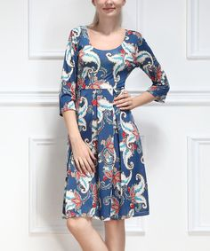 This Blue & Red Floral Scoop Neck Dress by Reborn Collection is perfect! #zulilyfinds
