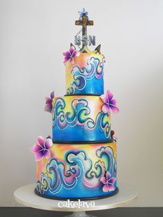 Ocean and Hawaiian themed wedding cake made by Rick Reichart for a couple in the Navy. www.cakelava.com
