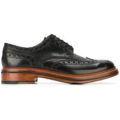 Grenson 'Archie' brogues (1.016.080 COP) ❤ liked on Polyvore featuring men's fashion, men's shoes, men's oxfords, black, shoes, mens black shoes, mens brogue shoes, mens black leather shoes, mens leather shoes and grenson mens shoes