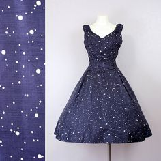 vintage 1950s dress / silk polka dot full by LivingThreadsVintage, $188.00 Fifties Fashion, Vintage Fashion, Classic Fashion, Vintage 1950s Dresses, Vintage Outfits, Pretty Costume, Lovely Dresses, Awesome Dresses, Blue Bridesmaid Dresses