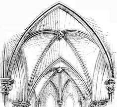 Early English groined vaulting in Salisbury Cathedral, drawn by Banister F. Fletcher: