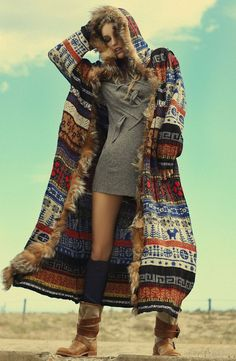 Boho chic tribal inspired ethnic print maxi sweater coat.