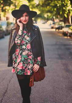 floral dress, black leather jacket and black thights outfit for fall