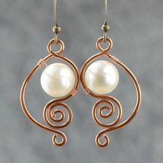 copper wiring pearl dangle earrings handmade ani designs