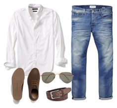 """""""Casual man's outfit"""" by anja-jovanovich ❤ liked on Polyvore featuring Scotch & Soda, Banana Republic, Lacoste, FOSSIL, SELECTED, men's fashion and menswear"""