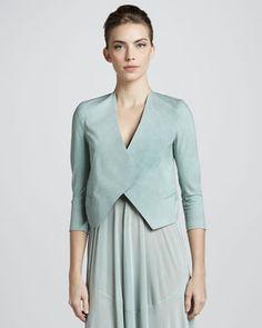 Folded Crepe Jacket, Jade by Donna Karan at Neiman Marcus.