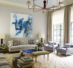 Steven Gambrel living room--large scale abstract art, beni ourain rug, color palette