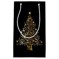 Golden Christmas Tree on Black Gift Bag - gold gifts golden customize diy