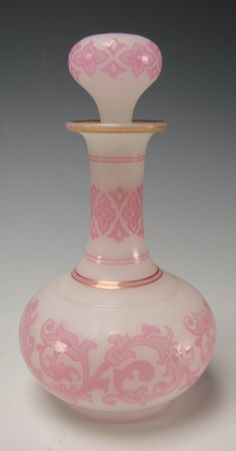 Antique French Pink Alabaster Perfume Bottle