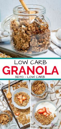 Low Calorie Granola, Keto Granola, Sugar Free Granola, Keto Snacks, Keto Desserts, Healthy Snacks, Low Carb Protein, Low Carb Breakfast, Breakfast Recipes