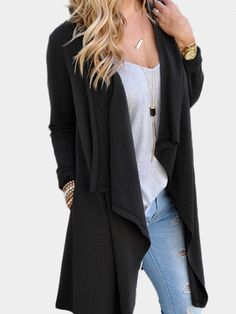 Black Casual Open Long Sleeve Cardigans