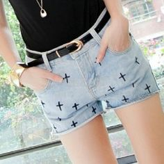 $8.30 New Fashion Womens The Cross Pattern Jeans Shorts Denim Cut Off Hot Pants Casual