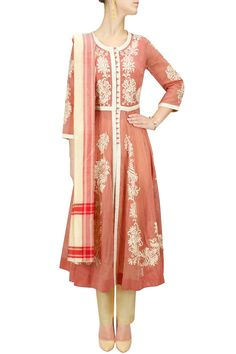 Red and ecru striped embroidered kalidaar set