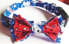 Patriotic 4th of July Dog Collar with Bow Tie