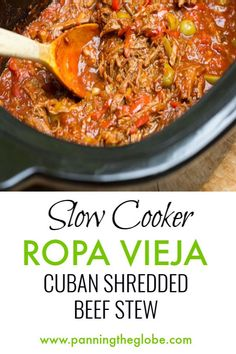 Ropa Vieja is Cuba's famously delicious shredded beef stew with peppers. It's perfect for the slow Cooker! Beef Casserole Recipes, Slow Cooker Recipes, Crockpot Recipes, Pork Recipes, Cube Recipe, Best Gluten Free Recipes, Healthy Recipes, Photo Food, Polenta