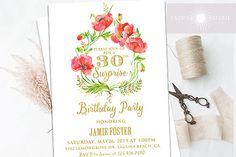 Poppy Birthday Invite, Red Poppy Printable Invite, Birthday Invitation…