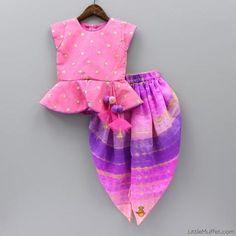 Pre Order: Pink Peplum Top with Purple Tie & Die Dhoti