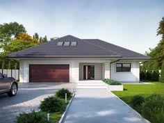 Goran 3 Family House Plans, Cottage House Plans, Dream House Plans, Morrocan House, One Storey House, Affordable House Plans, Modern Bungalow House, Driveway Design, Beautiful House Plans