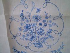 vintage embroidered blue floral tea towel- blue flowered embroidery on tea towel- delft design embroidery kitchen towel- kitchen linens