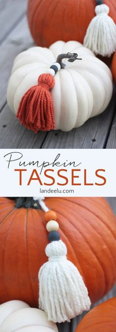 Make some trendy DIY yarn tassels and paint some wood beads to add to your pumpkins this year! A quick and easy project to make your pumpkins stand out!. #DIY #Fall #Pumpkins #falldecor #landeelu Fall Crafts, Halloween Crafts, Halloween Decorations, Fall Decorations, Holidays Halloween, Trendy Halloween, Diy Crafts, Thanksgiving Crafts, Spooky Halloween