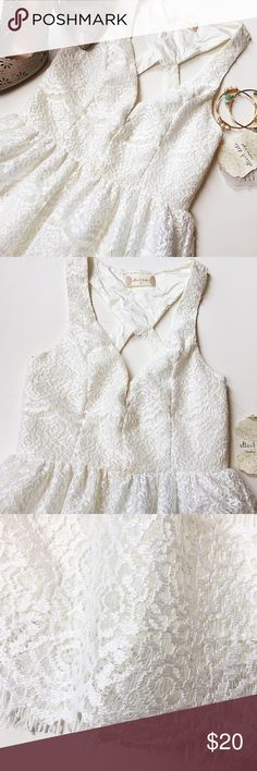 """NWT Eyelash Lace Dress NWT! 2 minor flaws, discoloration on the neckline and on the waist, will most likely come out in wash with a little bit of bleach! Fully lined fit and Flare dress with Delicate lace overlay. Plunging Sweetheart neckline with racerback style straps. Color is more off white than pure white. Size XS will fit sizes 00 or 0 best. 11"""" zipper closer on the back. Bust is 15"""" across, waist is 13"""" across. Length is 25"""" from underarm. 100% polyester. Altar'd State Dresses Mini"""