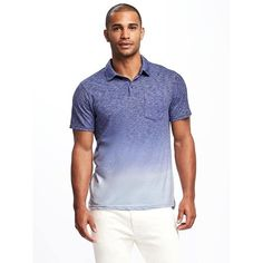Old Navy Mens Dip Dye Pocket Polo ($20) ❤ liked on Polyvore featuring men's fashion, men's clothing, men's shirts, men's polos, blue, mens dip dye shirt, mens blue shirt, men's pocket polo shirts, mens short sleeve polo shirts and mens navy blue polo shirts