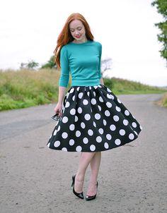 full black and white polka dot skirt with high heels