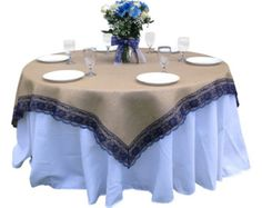 72 x 72 Inches - Burlap NAVY/DARK BLUE Lace-Edged Table Overlay / Tablecloth- Rustic Country Home Decor Table Linen, Wedding Reception Decor