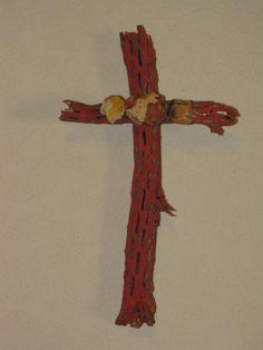 Cholla Wood Cross Painted Terracotta by ArtByBeverlySchwab on Etsy, $22.00