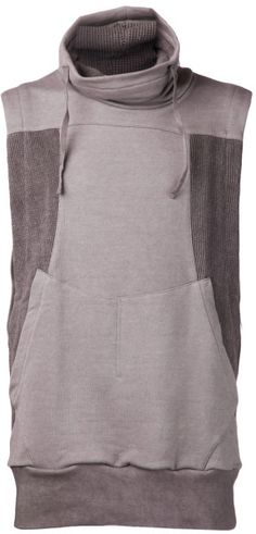 b3bcf77b74e3fd Men s Gray Sleeveless Mesh Panel Sweater